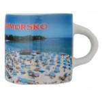 Сувенирна чаша с магнит, гравирана с плажа в Приморско